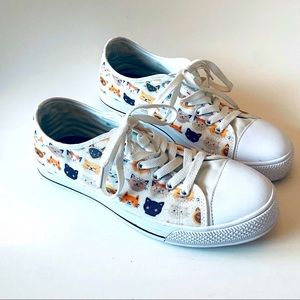 Cat Graphic White Sneakers